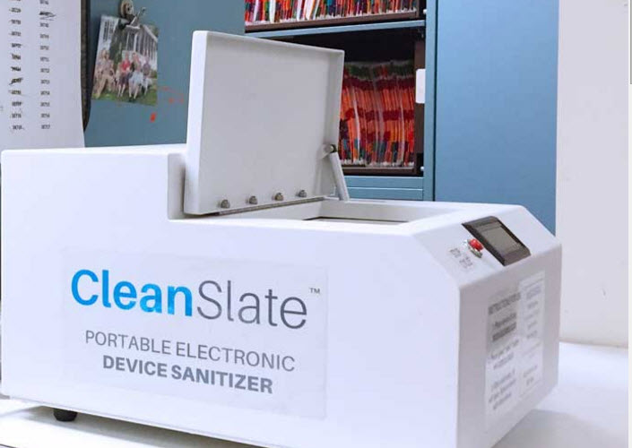 A Toronto startup devised CleanSlate, a device that uses UV rays to sanitize cell phones.